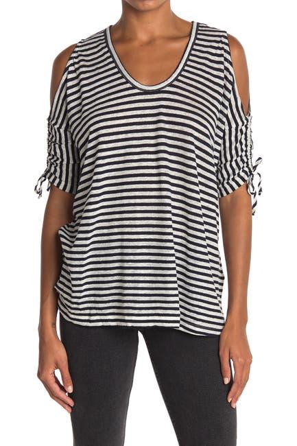 Image of ALLSAINTS Harper Striped Cold Shoulder T-Shirt