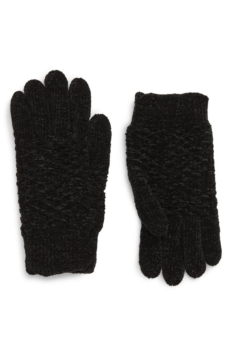 BP. Waffle Knit Chenille Gloves, Main, color, BLACK