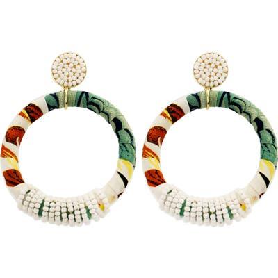 Panacea Multi Fabric & Seed Bead Hoop Earrings