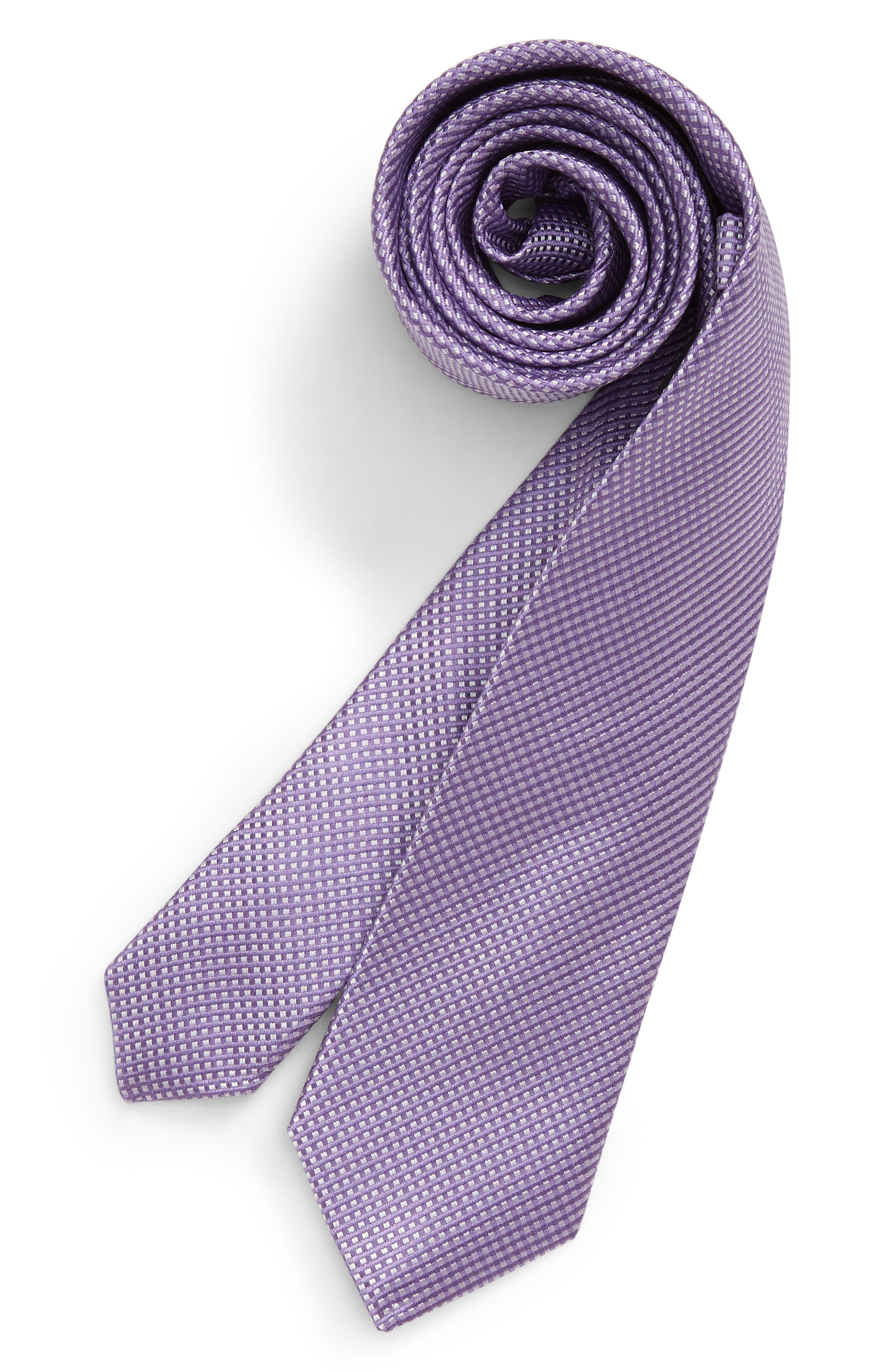 Boys Nordstrom Owen Grid Silk Tie Size Big Boy  Purple