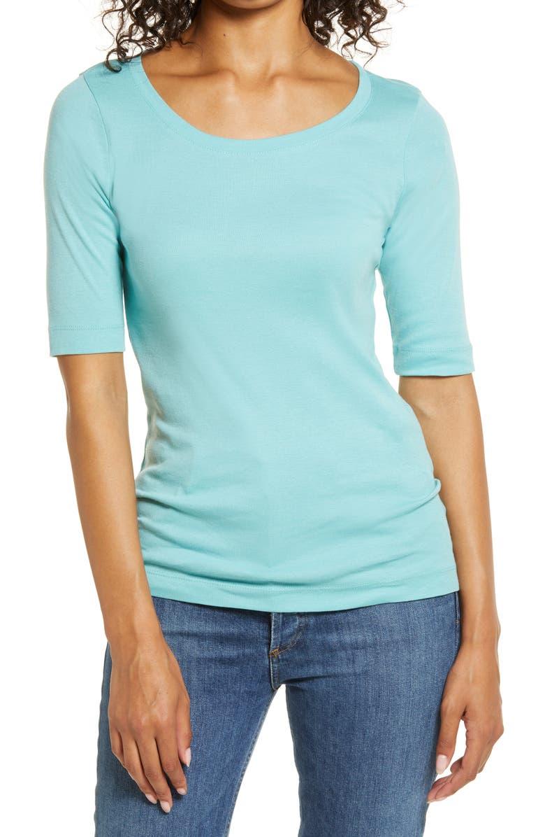 CASLON<SUP>®</SUP> Ballet Neck Cotton & Modal Knit Elbow Sleeve Tee, Main, color, 452