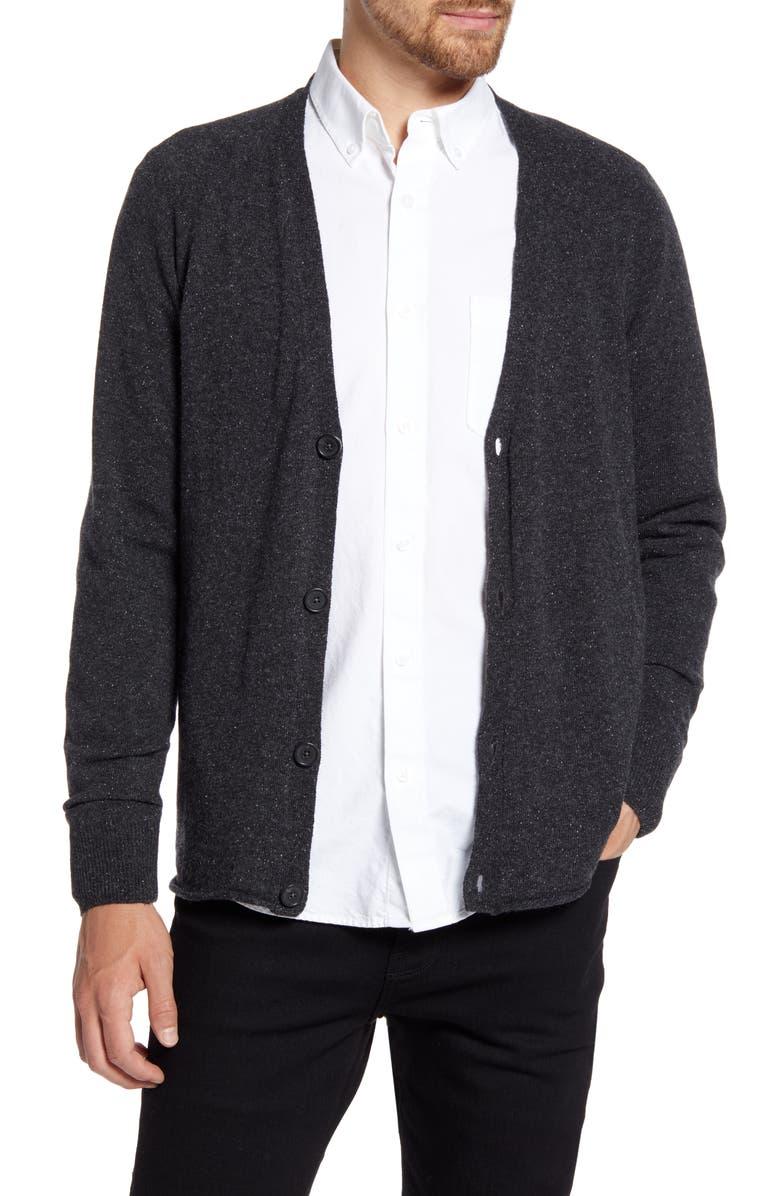 BILLY REID Heirloom Raglan Wool Blend Cardigan, Main, color, BLACK