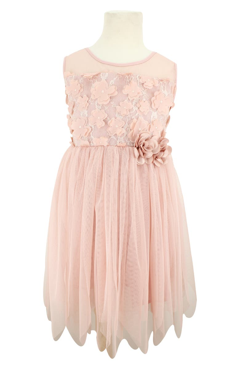 POPATU 3D Flower Tulle Dress, Main, color, DUSTY PINK