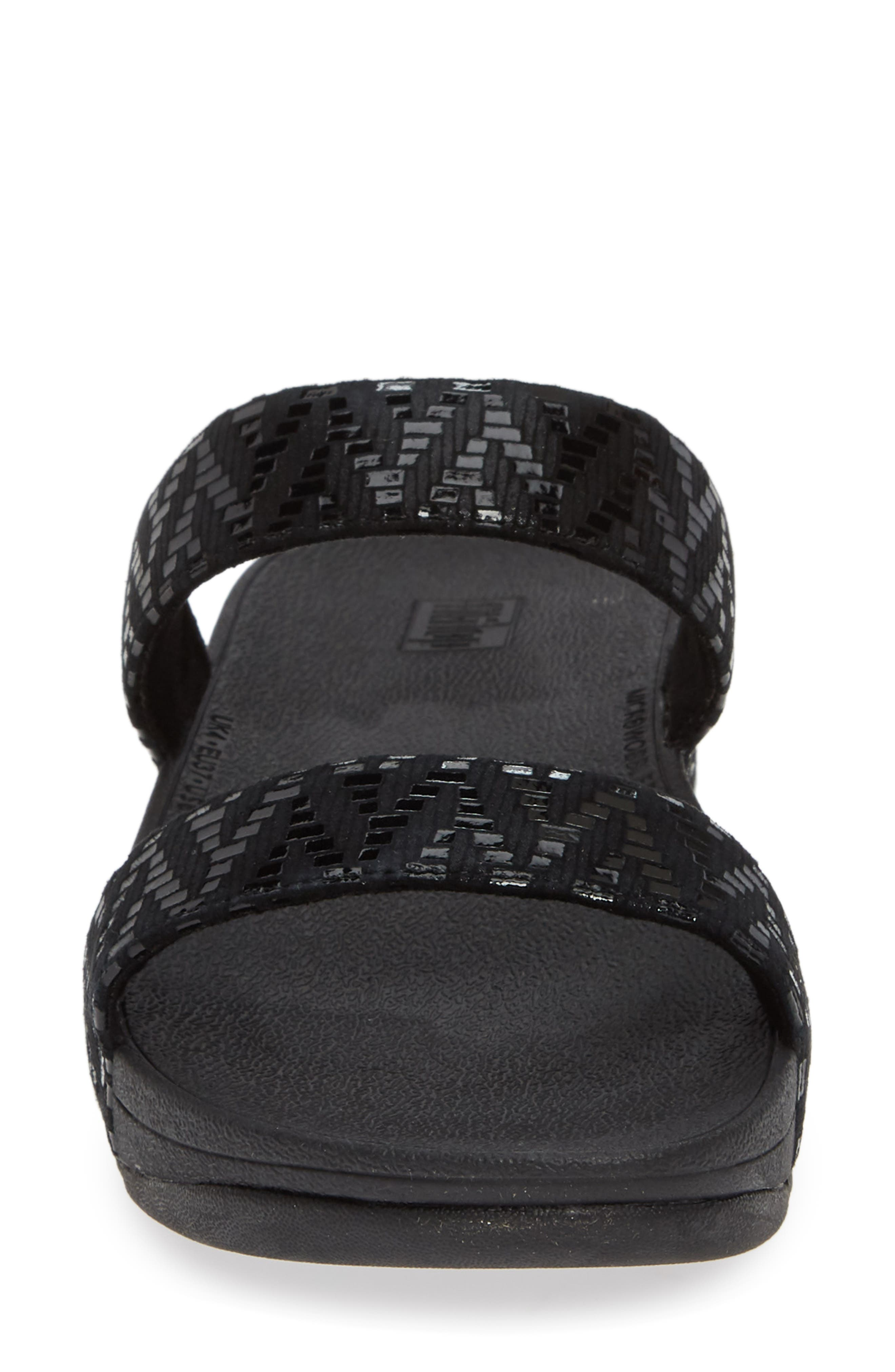 ,                             Lottie Chevron Wedge Slide Sandal,                             Alternate thumbnail 4, color,                             BLACK FABRIC