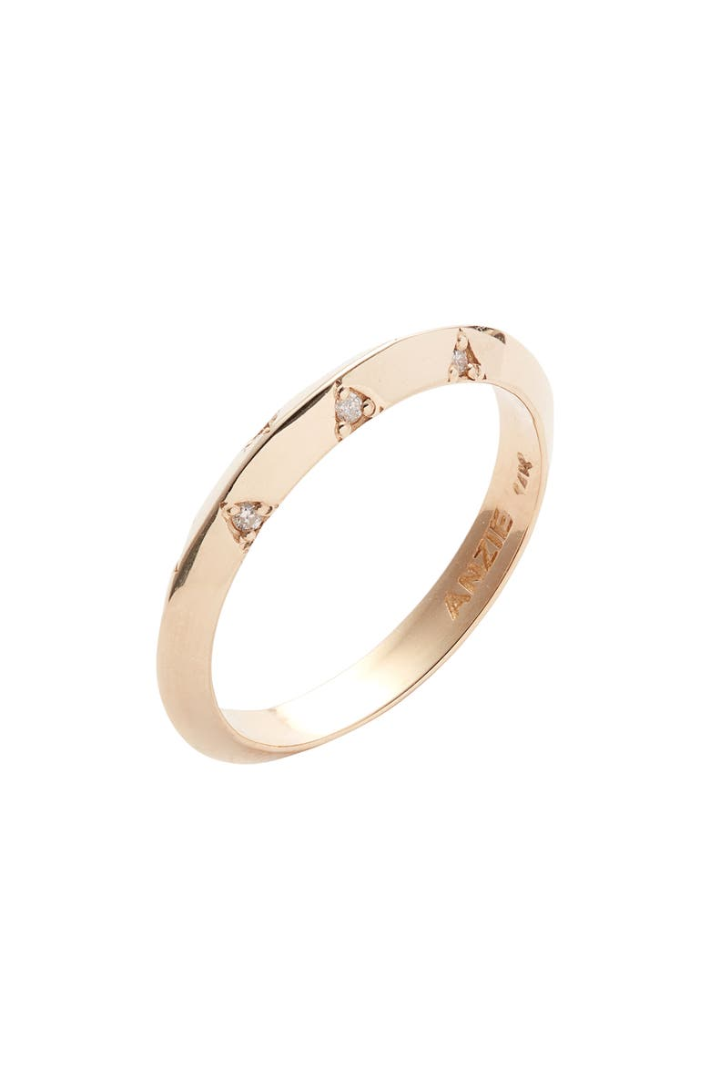ANZIE Cleo Diamond Stacking Ring, Main, color, GOLD/ DIAMOND