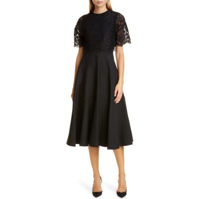 Valentino Lace Popover Crepe Couture Midi Dress, US / 46 IT - Black