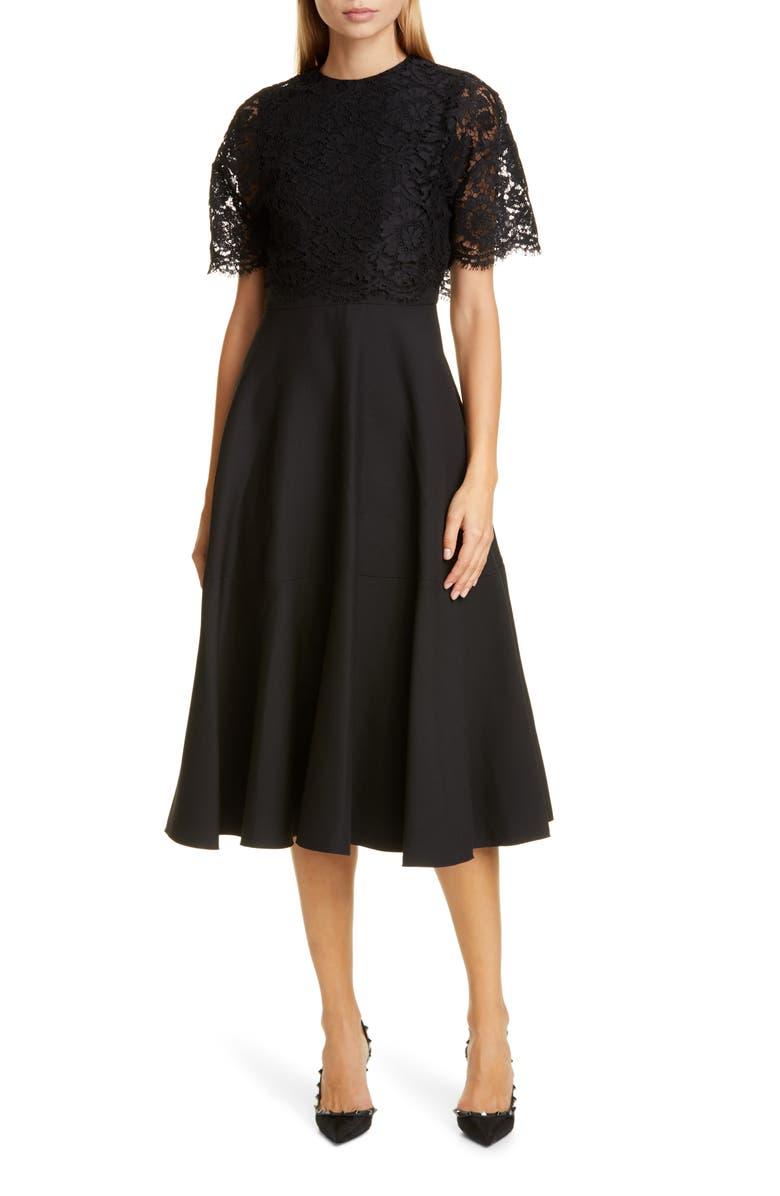 VALENTINO Lace Popover Crepe Couture Midi Dress, Main, color, 001