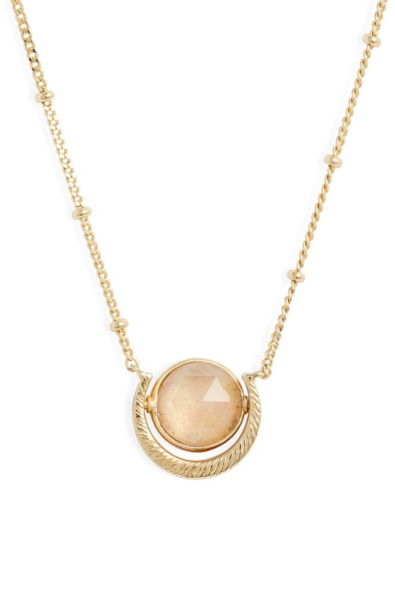 GORJANA Alice Pendant Necklace, Main, color, ROSE QUARTZ/ GOLD