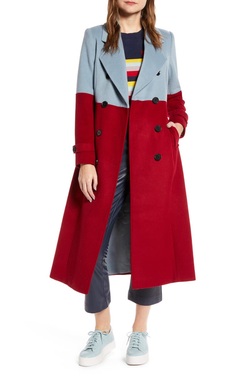 HALOGEN<SUP>®</SUP> x Atlantic-Pacific Colorblock Wool Blend Coat, Main, color, BLUE R- RED C CB