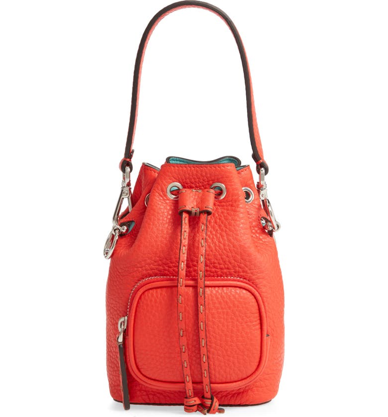 FENDI Mini Mon Tresor Logo Leather Bucket Bag, Main, color, POPPY