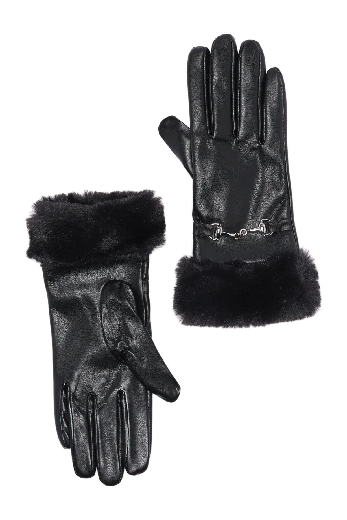 Image of Vince Camuto Faux Fur Cuff Gloves