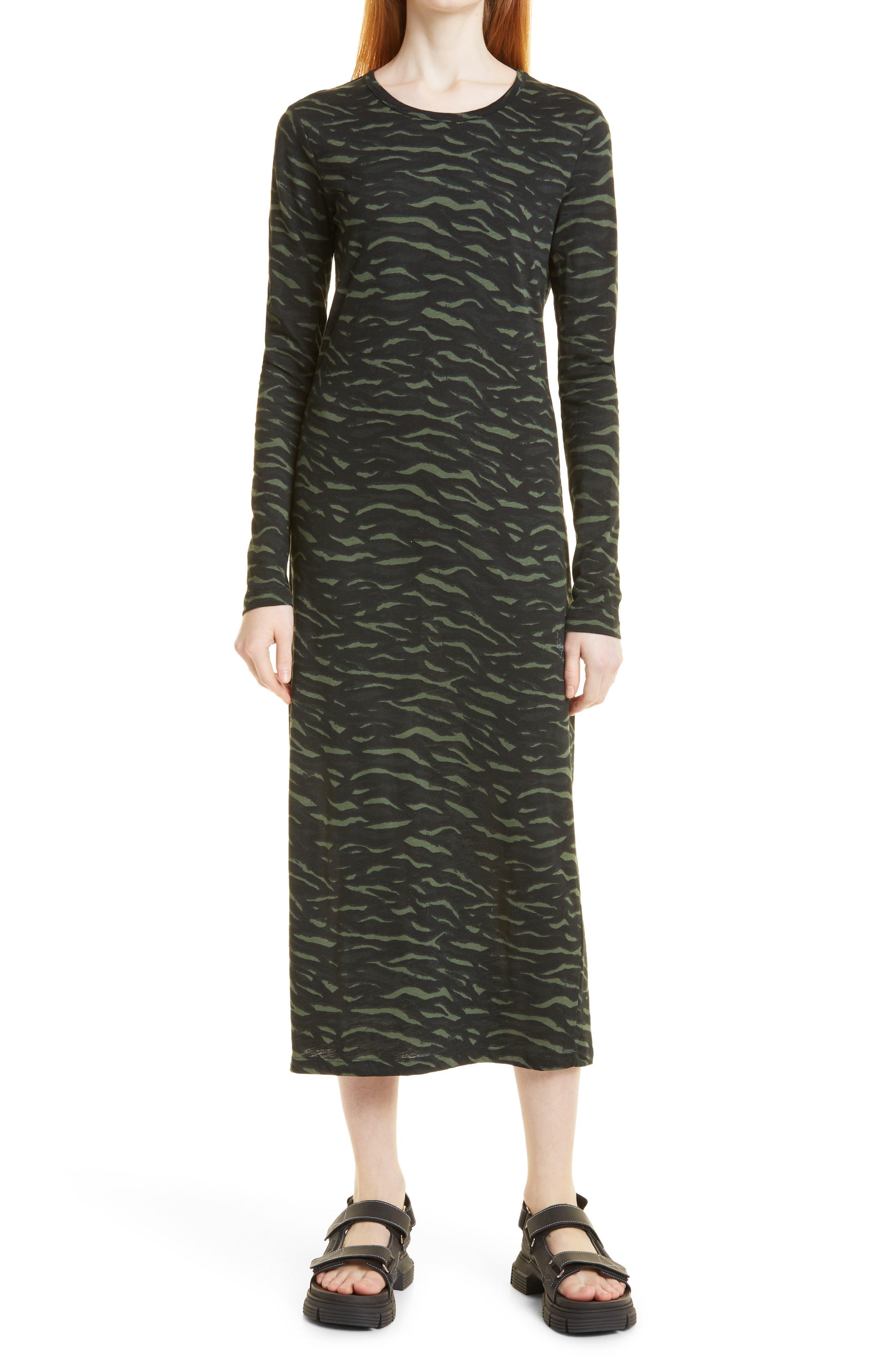 Russeo Abstract Long Sleeve Organic Cotton Midi Dress