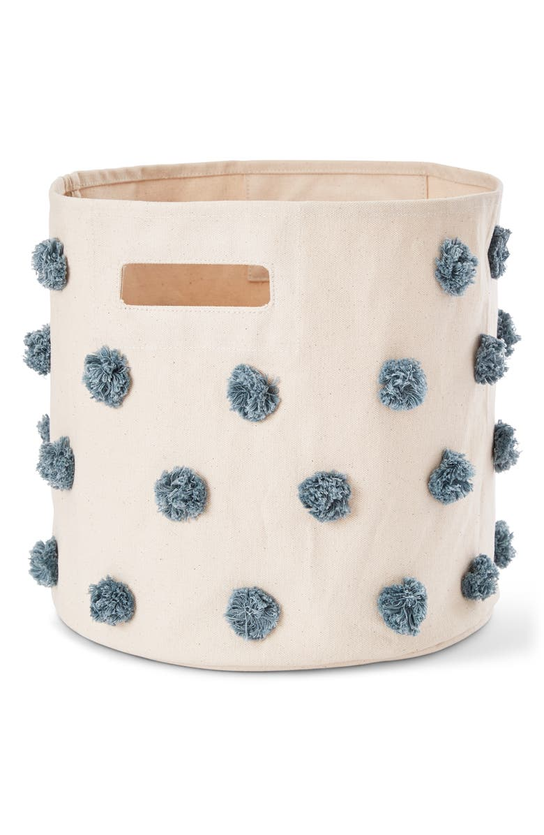 PEHR Pompom Canvas Bin, Main, color, DEEP SEA BLUE