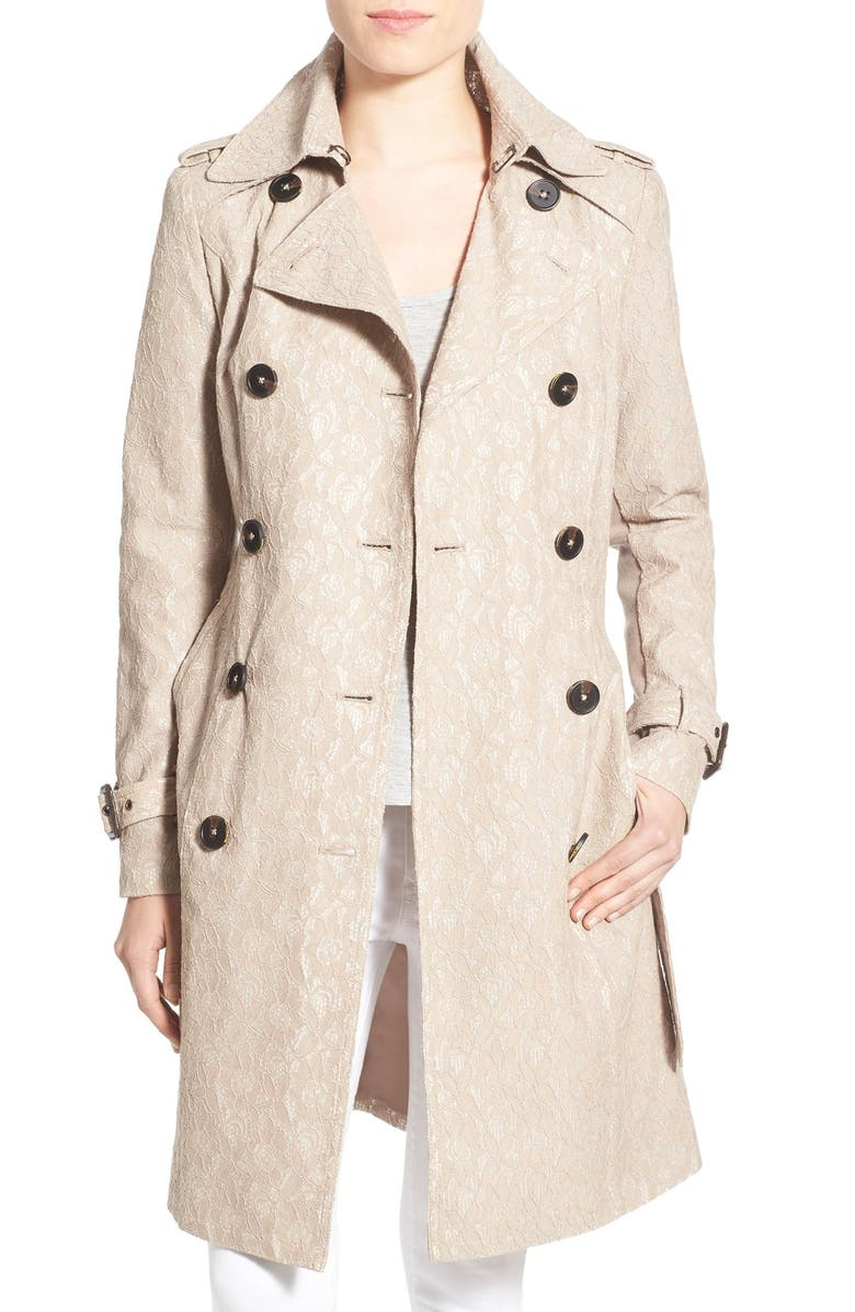 BCBGENERATION Lace Trench Coat, Main, color, 253