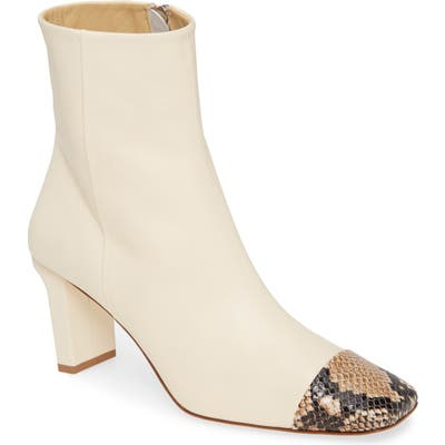 Aeyde Belle Snake Embossed Square Toe Bootie, Ivory