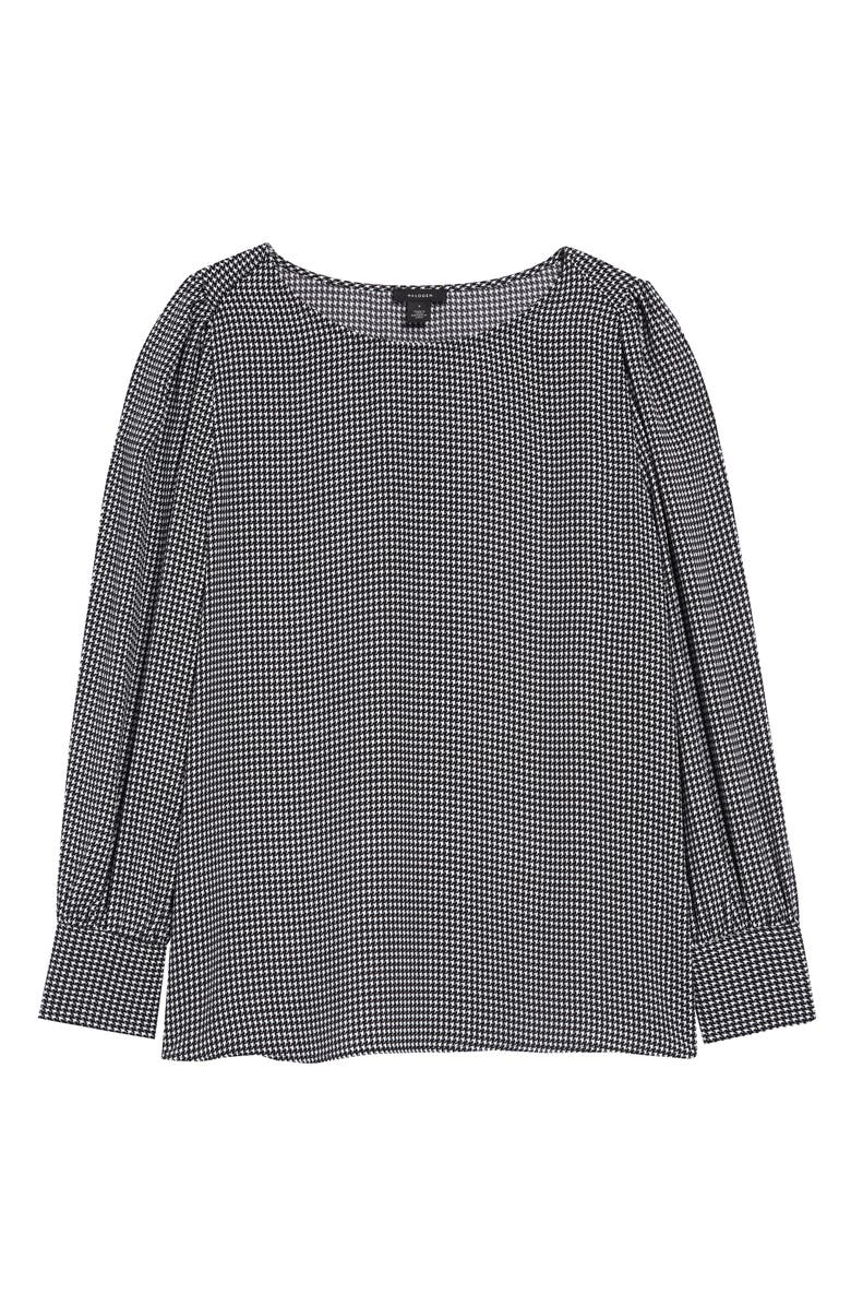 HALOGEN<SUP>®</SUP> Long Sleeve Blouse, Main, color, BLACK- WHITE HOUNDSTOOTH