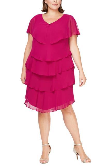 Image of SLNY Tiered Chiffon Cape Dress