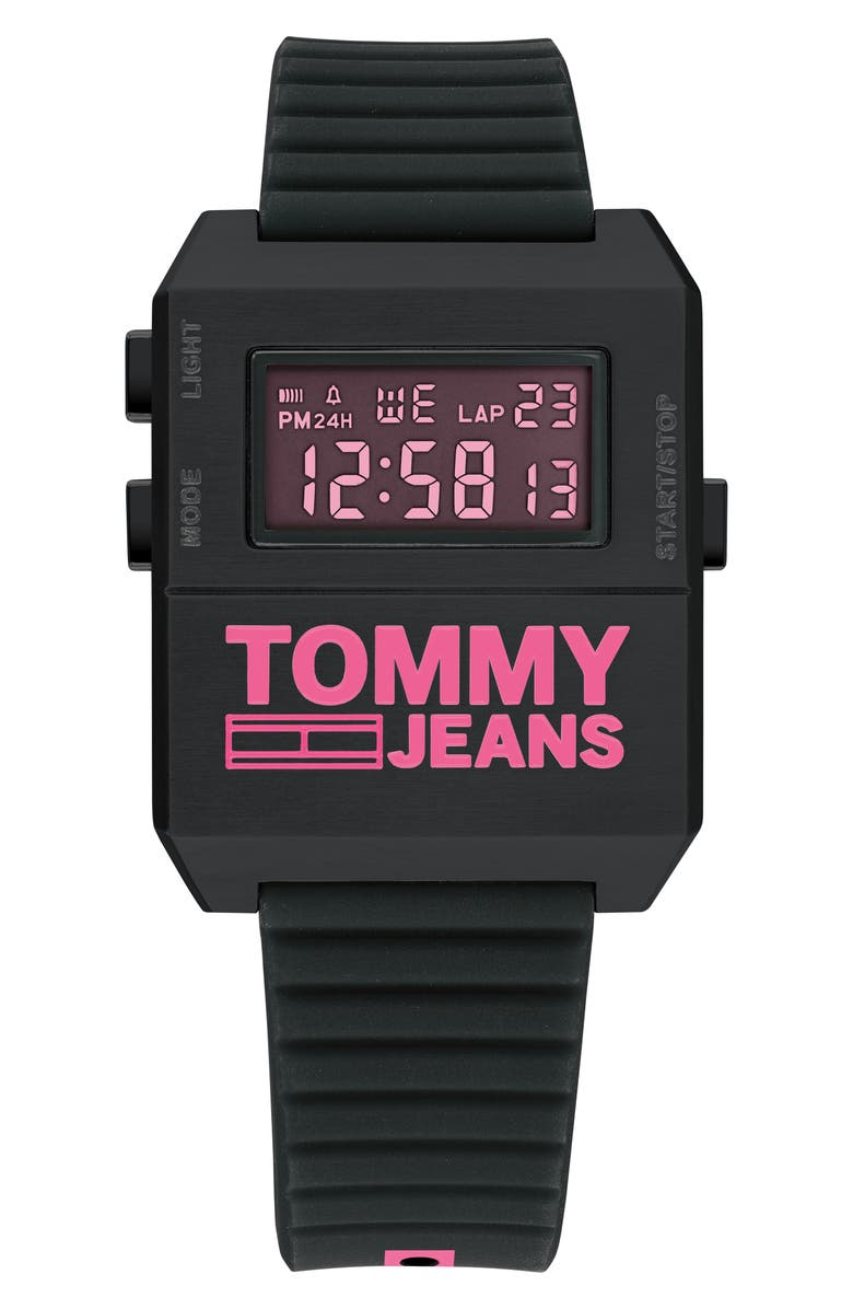 TOMMY JEANS Digital Rubber Strap Watch, 32.5mm x 42mm, Main, color, BLACK/ PINK
