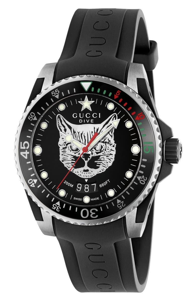GUCCI Diver Cat Rubber Strap Watch, 40mm, Main, color, BLACK/ SILVER