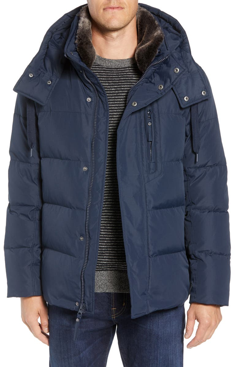 MARC NEW YORK Baltic Faux Fur Trim Down & Feather Fill Parka, Main, color, INK