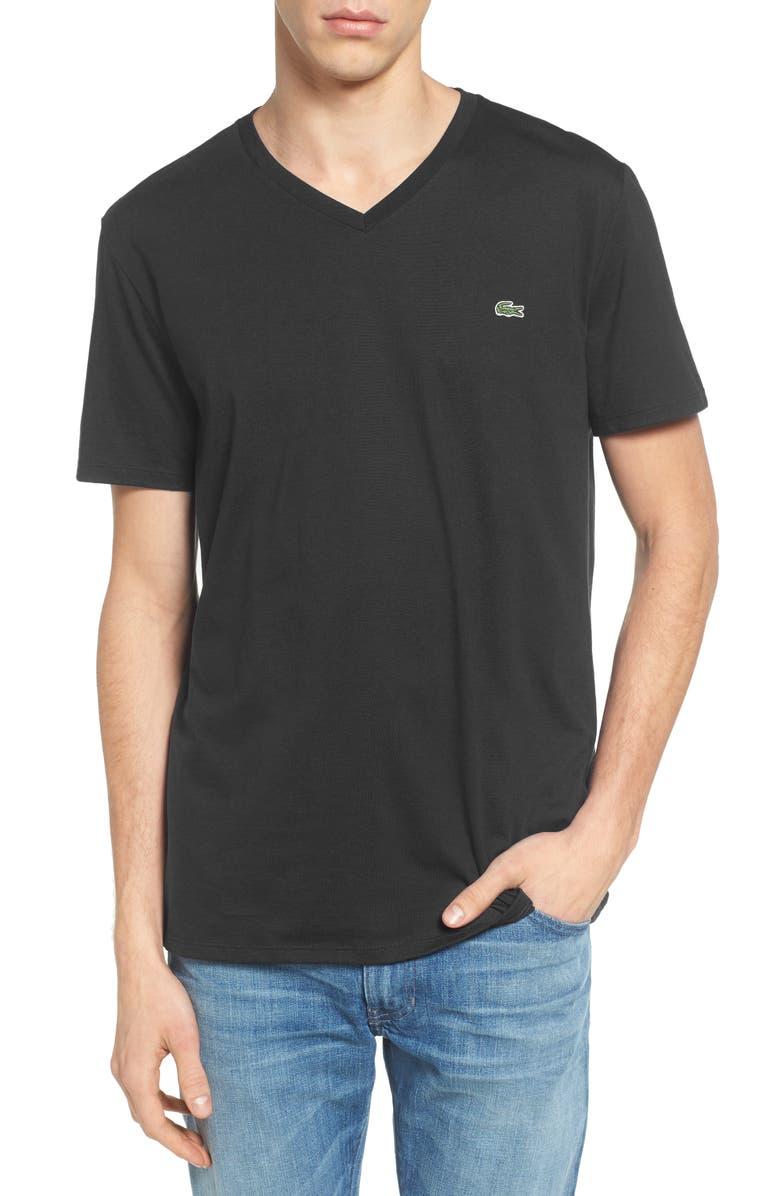 LACOSTE Regular Fit V-Neck T-Shirt, Main, color, BLACK