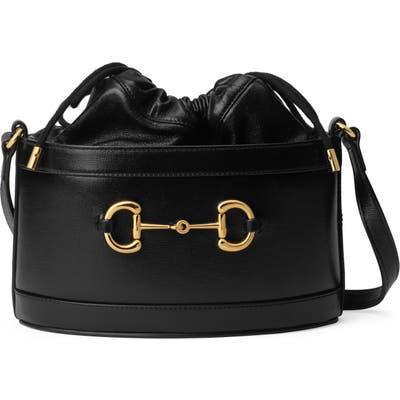 Gucci Small 1955 Horsebit Leather Bucket Bag - Black