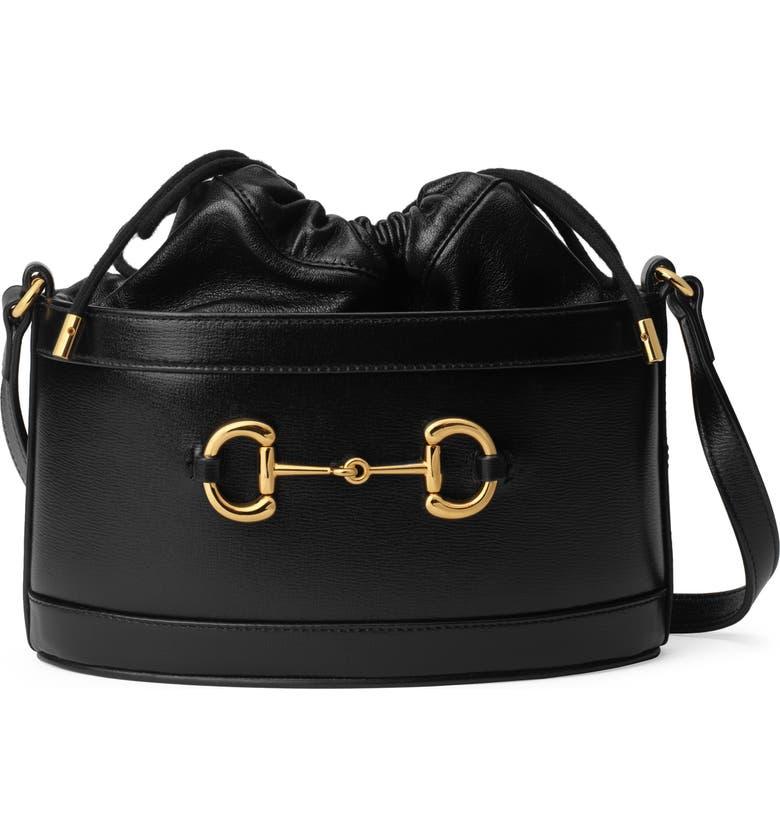 GUCCI Small 1955 Horsebit Leather Bucket Bag, Main, color, NERO/ NERO