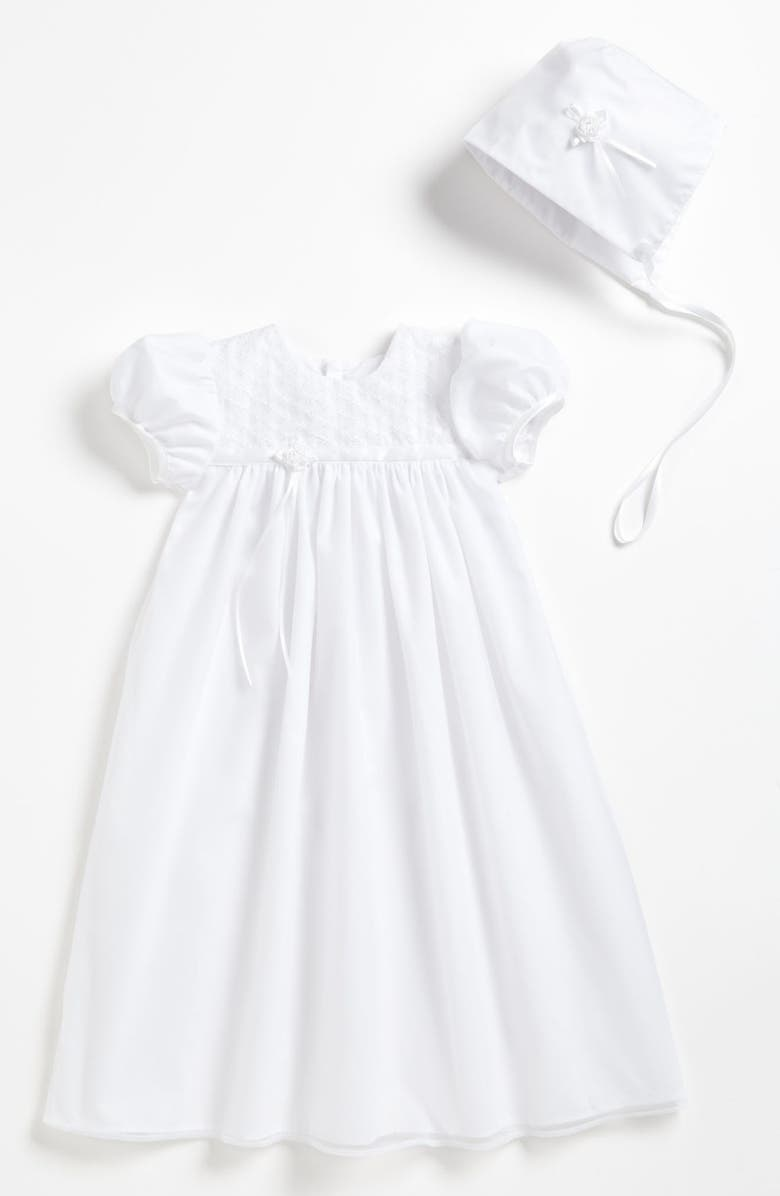 LITTLE THINGS MEAN A LOT Embroidered Christening Gown & Bonnet, Main, color, WHITE