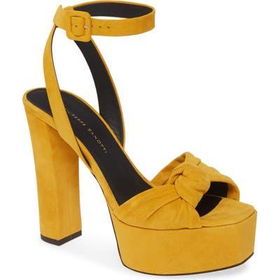 Giuseppe Zanotti Platform Block Heel Sandal, Yellow
