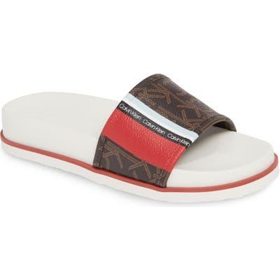 Calvin Klein Marlo Slide Sandal, Brown