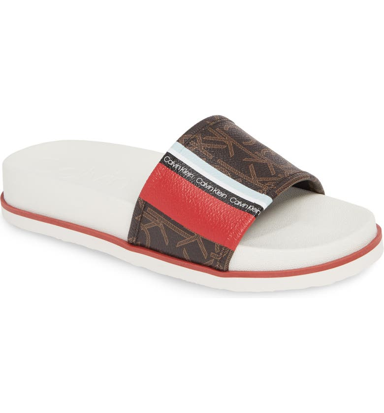 CALVIN KLEIN Marlo Slide Sandal, Main, color, DARK BROWN/ SCARLET LEATHER
