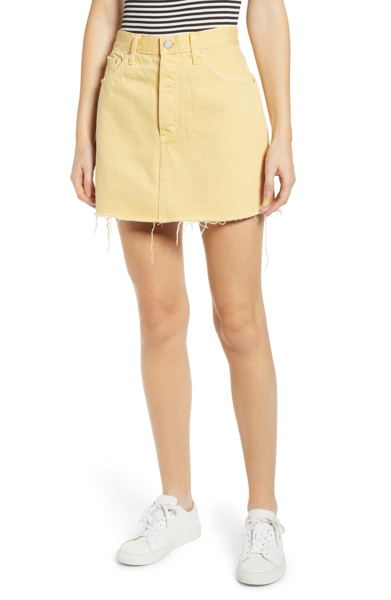 BOYISH JEANS The Corey Frayed Denim Miniskirt, Main, color, THE HONEY POT