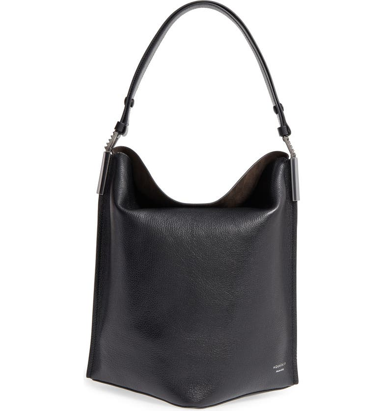 AQUATALIA Leather Bucket Bag, Main, color, 001