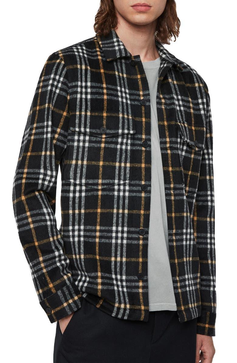 ALLSAINTS Berthold Slim Fit Plaid Flannel Button-Up Shirt, Main, color, BLACK