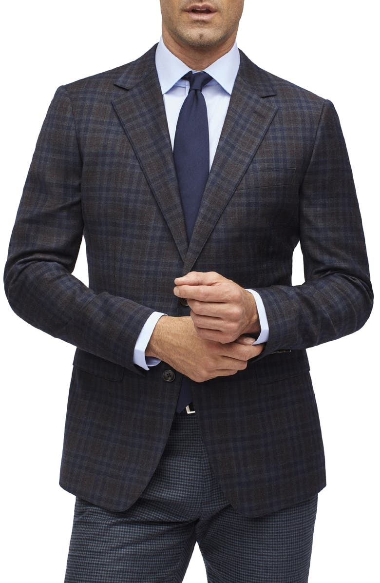BONOBOS Jetsetter Regular Fit Check Stretch Wool Blazer, Main, color, DARK BROWN PLAID