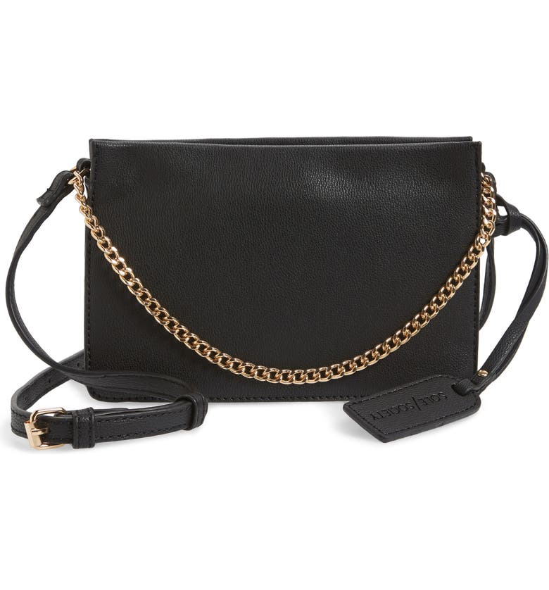 SOLE SOCIETY Gigi Faux Leather Crossbody Bag, Main, color, 001