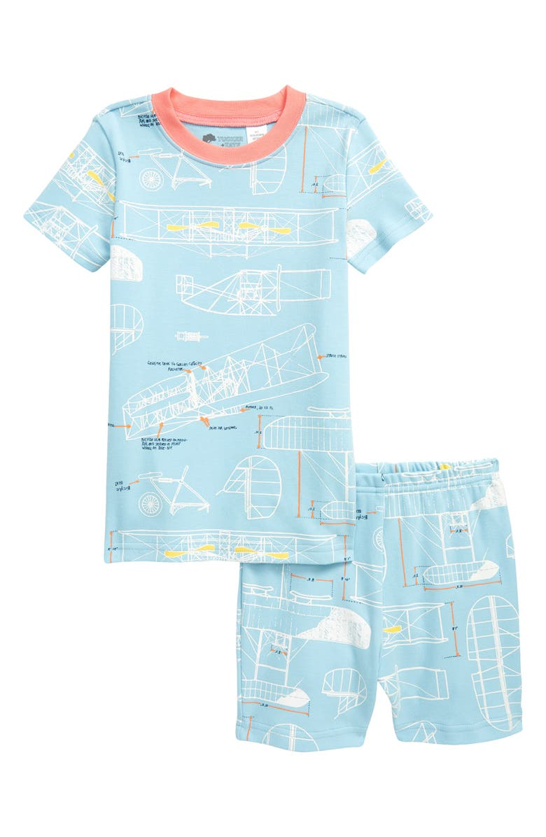 TUCKER + TATE x Smithsonian Kids' Glow in the Dark Fitted Two-Piece Short Pajamas, Main, color, BLUE SKY PLANE SPECS