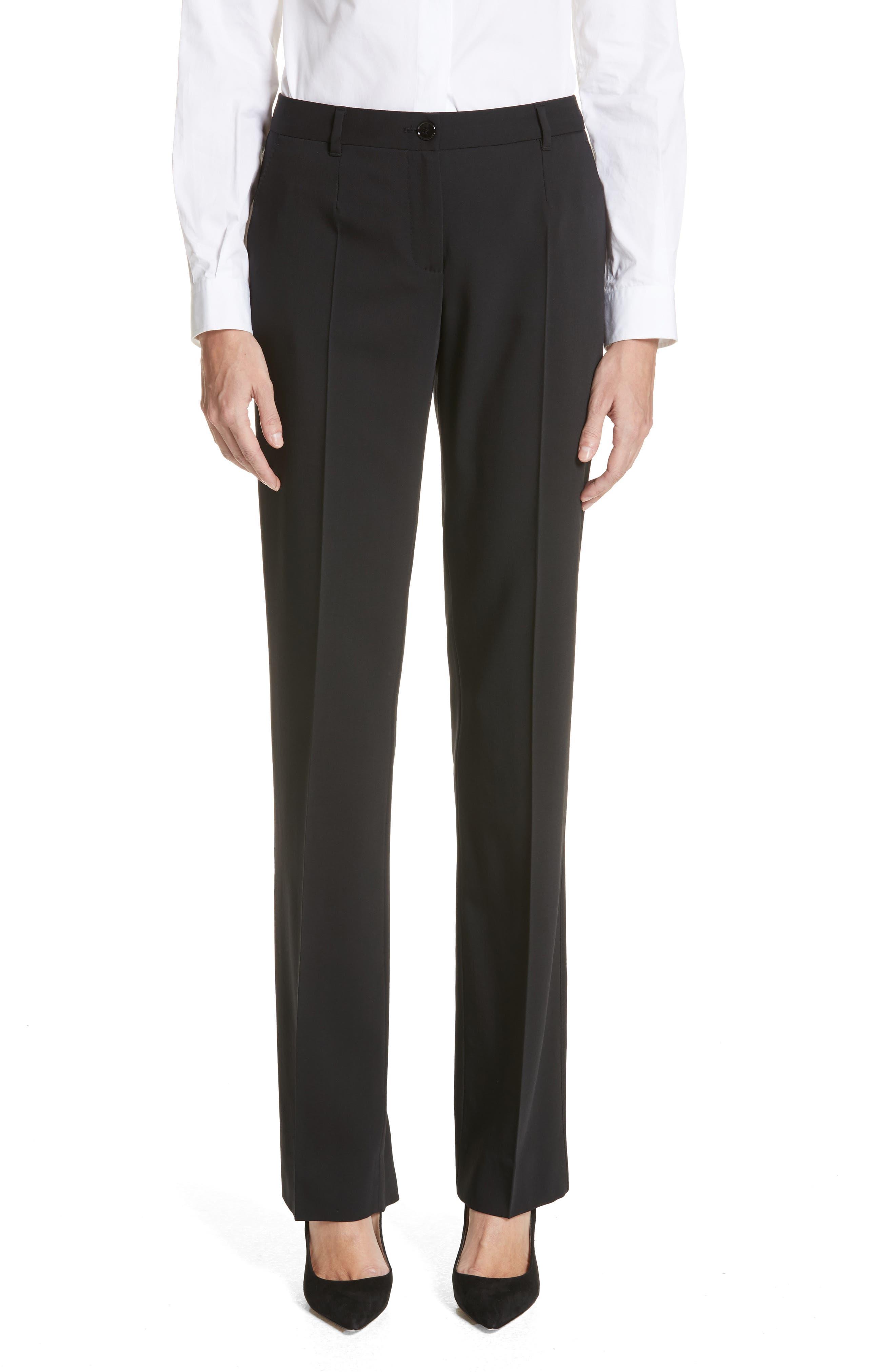 ,                             Straight Leg Stretch Wool Trousers,                             Main thumbnail 1, color,                             BLACK