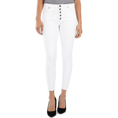 Kut From The Kloth Connie High Waist Raw Hem Ankle Skinny Jeans, White