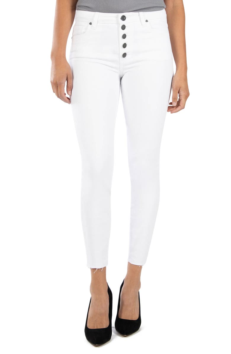 KUT FROM THE KLOTH Connie High Waist Raw Hem Ankle Skinny Jeans, Main, color, OPTIC WHITE