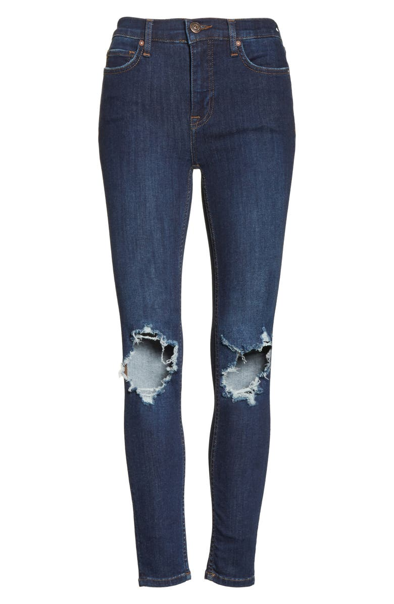 FREE PEOPLE We the Free by Free People High Rise Busted Knee Skinny Jeans, Alternate, color, DARK BLUE