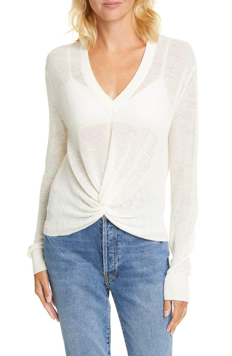 VERONICA BEARD Soren Linen Blend Sweater, Main, color, IVORY