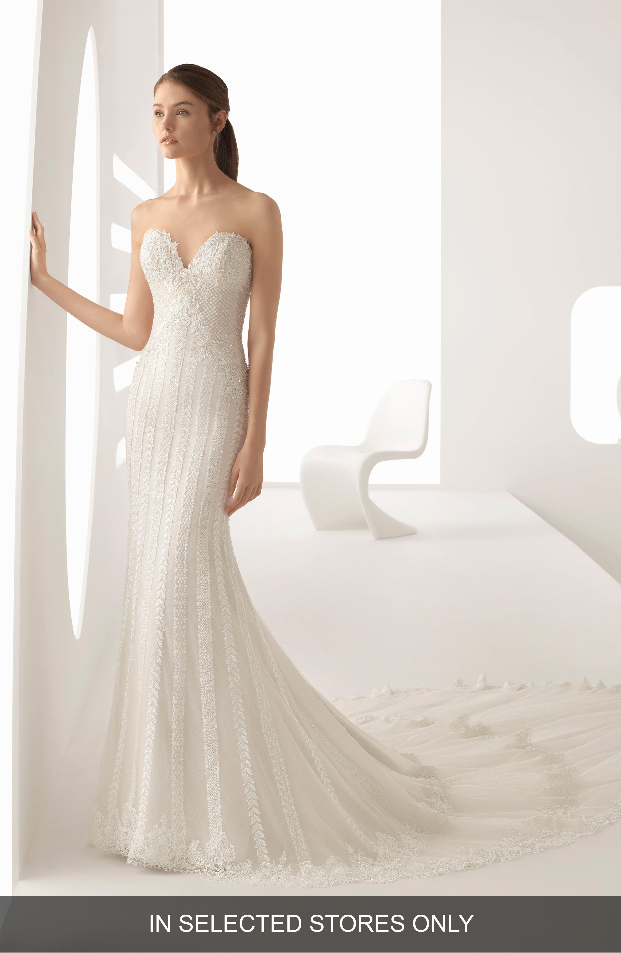 Rosa Clara Adele Beaded Lace Trumpet Gown, Size - Beige