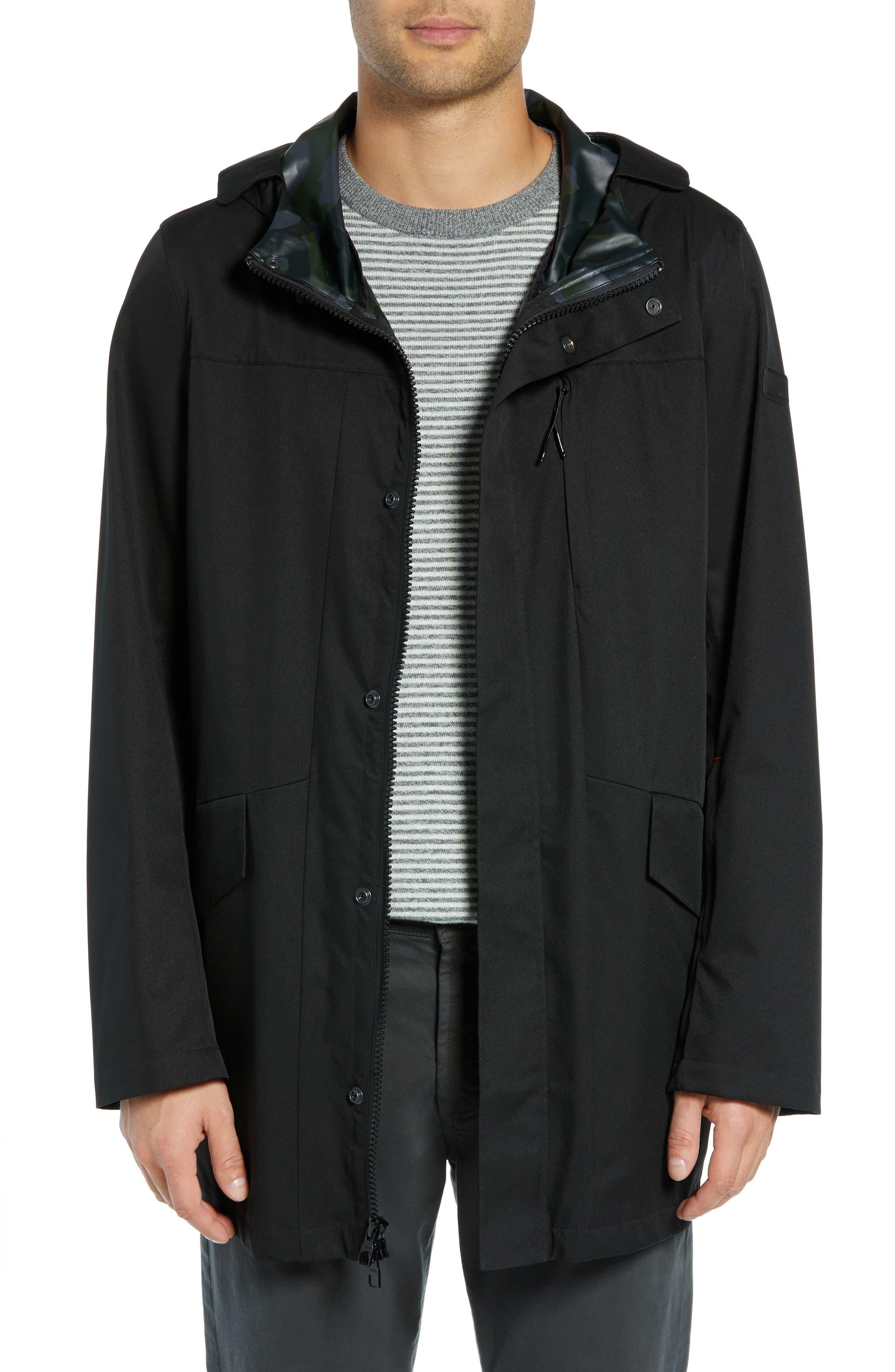 ,                             Packable Water-Resistant Raincoat,                             Main thumbnail 1, color,                             BLACK
