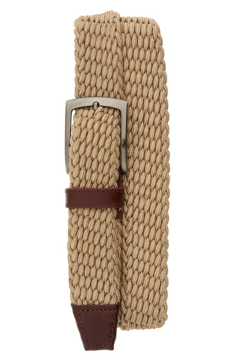 JOHNSTON & MURPHY Stretch Knit Belt, Main, color, TAN