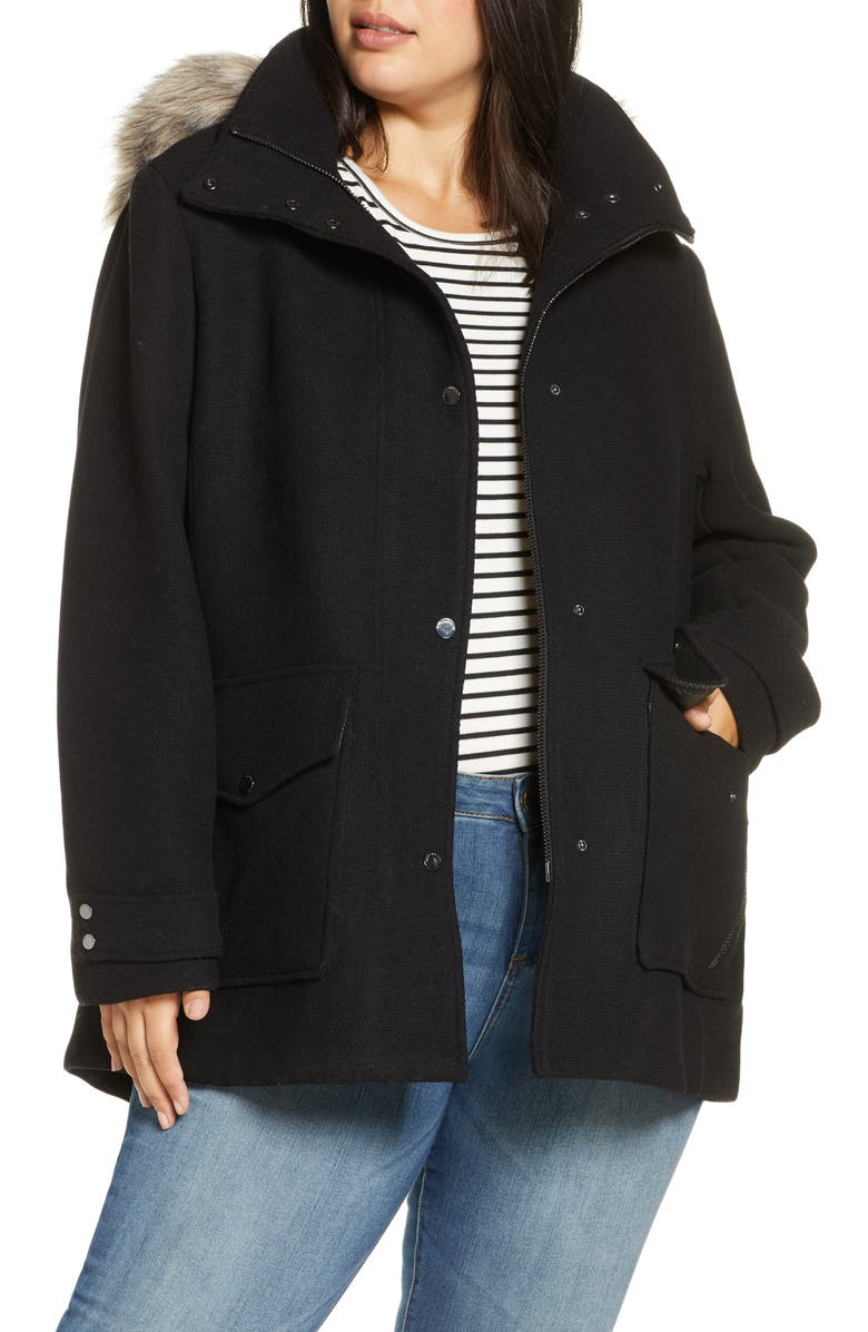 MARC NEW YORK Faux Fur Trim Hooded Duffle Coat, Main, color, BLACK
