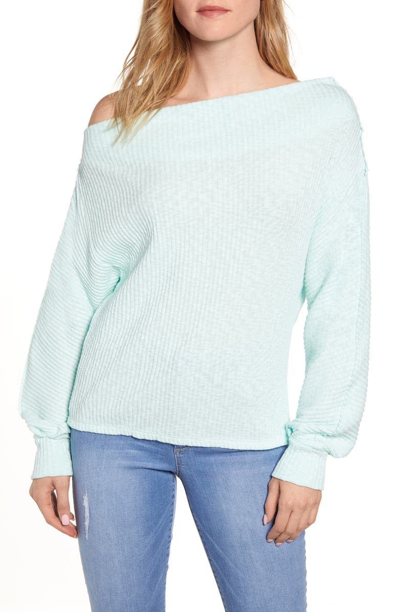 GIBSON Marilyn Off the Shoulder Sweater, Main, color, SEASALT
