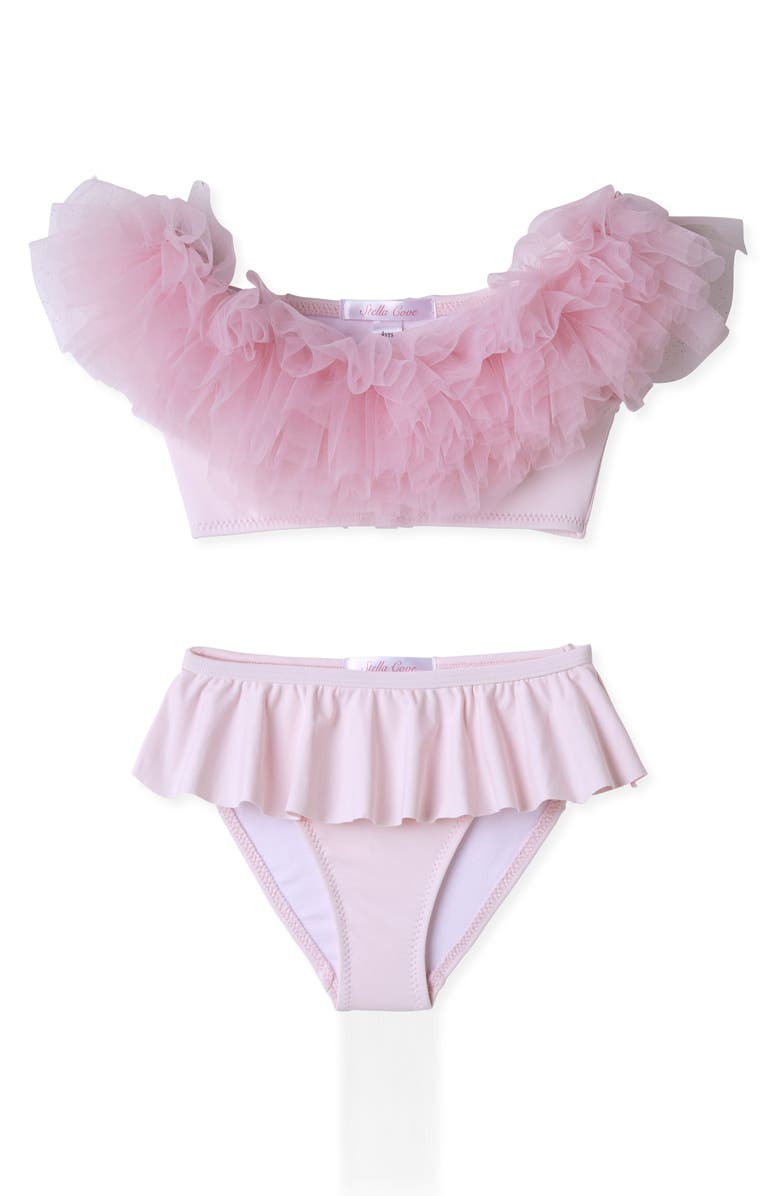 STELLA COVE Tulle Two-Piece Swimsuit, Main, color, PINK