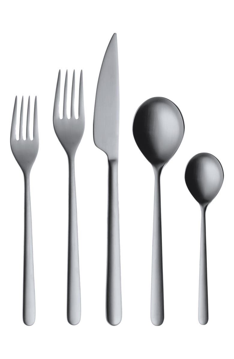 MEPRA Linea Ice 5-Piece Place Setting, Main, color, BRUSHED STAINLESS BLACK