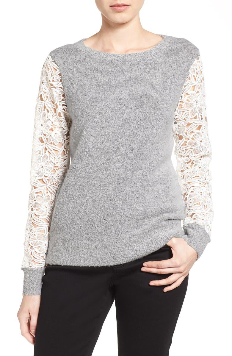 HALOGEN<SUP>®</SUP> Lace Detail Crewneck Sweater, Main, color, 030